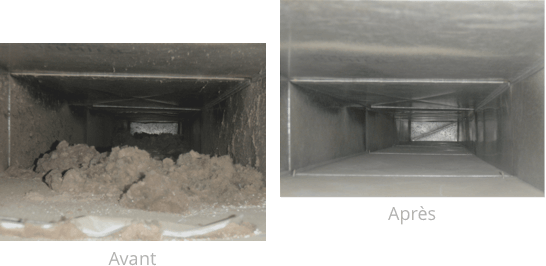 Nettoyage de conduits de ventilation - Avant et après
