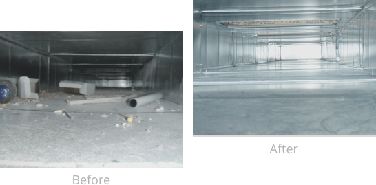 Example of cleaned commercial air duct