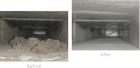 Example of cleaned residential air duct